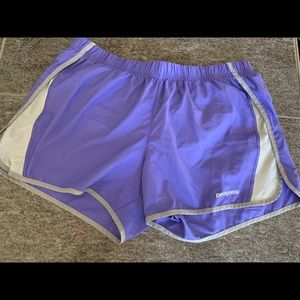Purple Patagonia running shorts with liner